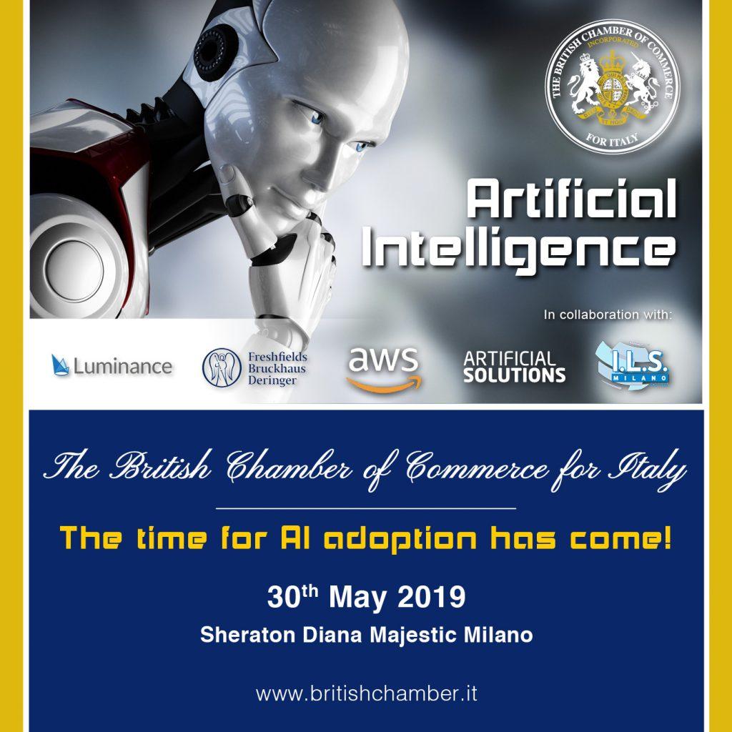 AI Seminar ILS milano intelligenza artificiale artificial intelligence 30 may Sheraton diana majestic event BCCI british chamber corso inglese online voxy