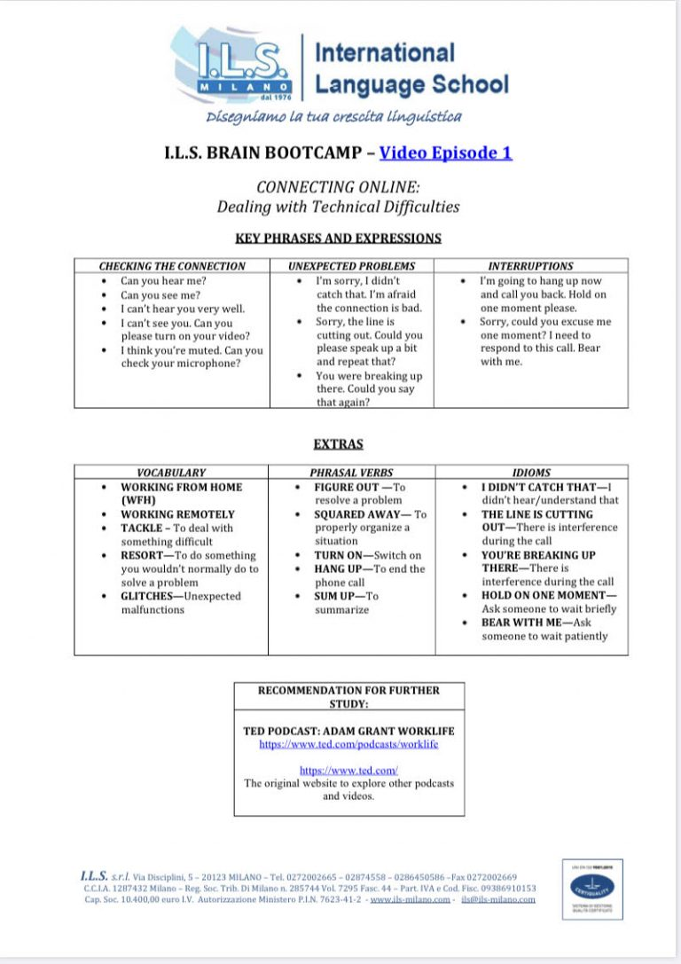ILS milano brain bootcamp english for online communication Online Communication in English